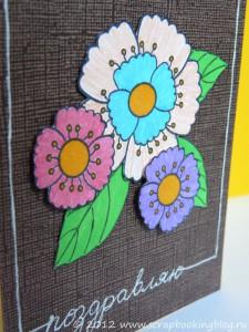 Открытка с яркими цветами - многослойность