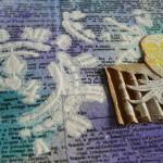 Арт-журнал, урок 3, акриловый грунт через трафарет
