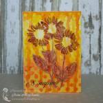 Желто-оранжевая открытка с цветами на 8 марта