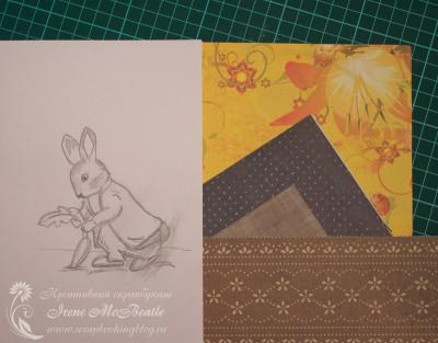 Зарисовка и подбор и бумаги для коллажа
