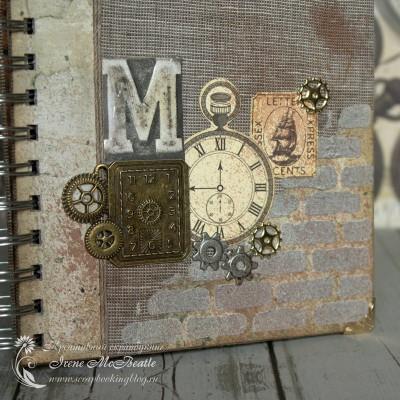 На обложке: ткань, текстура кирпичной стены, металлические детали