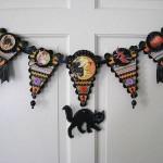 Декор для хеллоуина: баннер из флажков