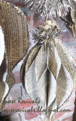 Объемное украшение на елку из бумаги