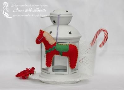 Елочная игрушка: лошадка из фетра
