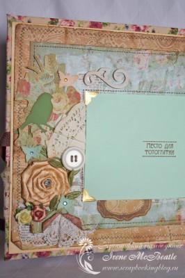 Винтажный альбом - цветы, бабочки и птичка