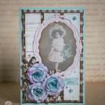 "Ретро открытка ""Девочка с цветами"""