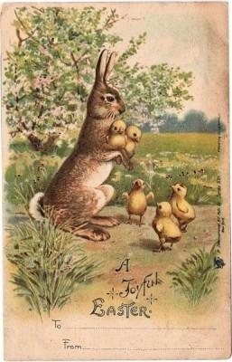 Пасхальная открытка с зайцем и цыплятами