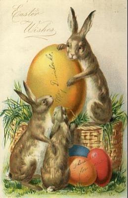 Винтажная открытка с зайцами