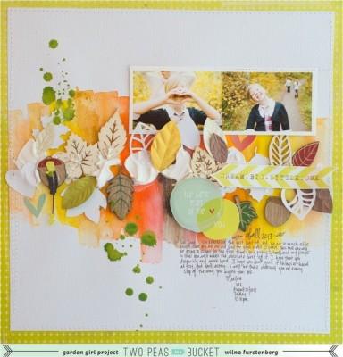 Осенняя страничка с акварельным фоном