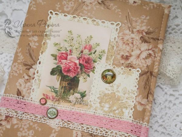 Обложка блокнота с розами
