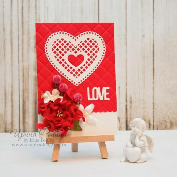 """Открытка """"Love"""" с сердечком"""