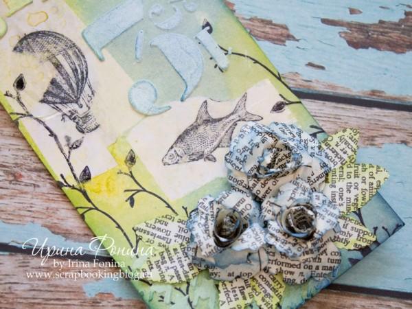 Текстурная паста и цветы из книжных листов
