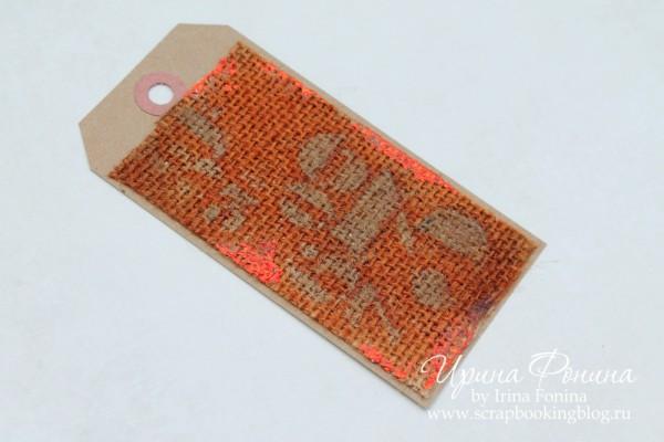 Distress Micro-Glaze Resist on Burlap with Foil