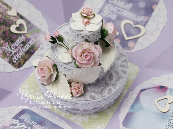Magic box - тортик из бумаги с цветами