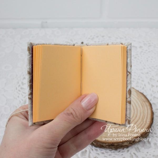 Мини-блокнот ручной работы - настоящий переплет