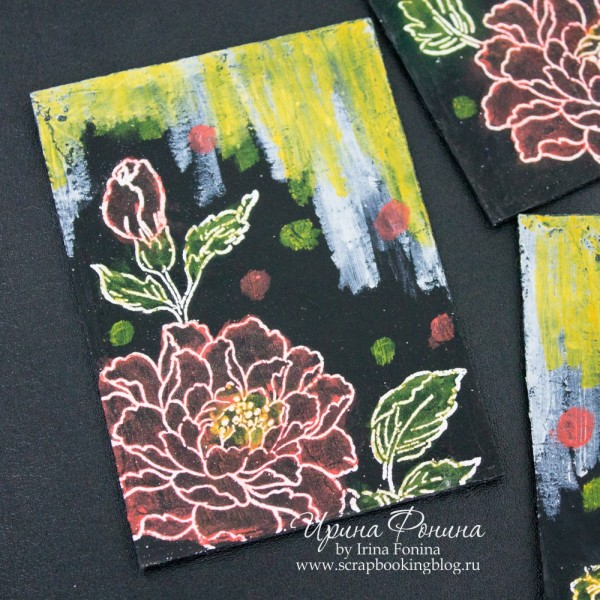 ATC series Flower - mixed media