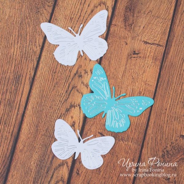 Бабочки - тинение серебряной фольгой и ножами для вырубки