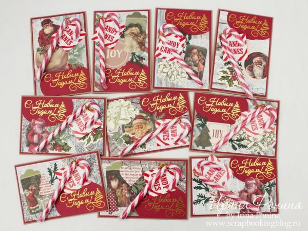 Новогодние открытки с леденцами