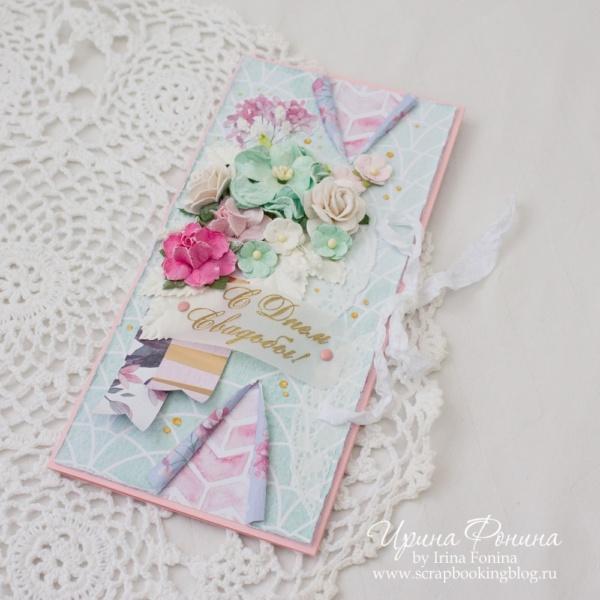 Свадебная открытка-конверт в коробочке - 3