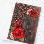 Открытка с ключом и красными розами - 3