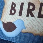 Тег с использованием дистресс чернил - птица