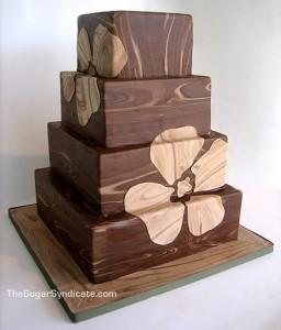 Текстура дерева - свадебный торт