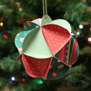 Елочный шарик - новогоднее украшение из бумаги