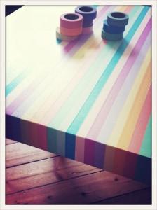 Оформление стола из икеи полосками декоративного скотча