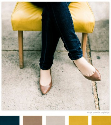 Палитра: темно-синий, кофейный, желтый, охра, серый