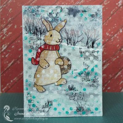 Коллаж на зимнюю тему с зайчиком