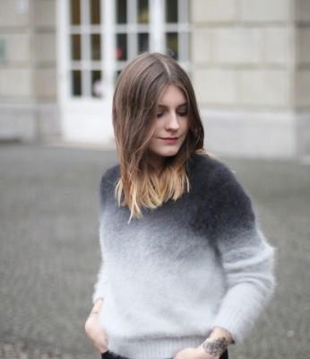Волосы и свитер с эффектом омбре