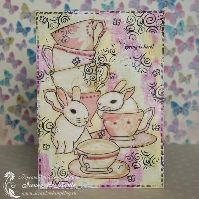 Коллаж с двумя кроликами