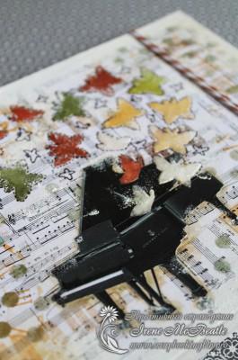 Коллаж на нотном фоне, вылетающие из рояля бабочки