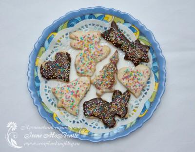 Новогоднее песочное печенье