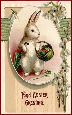 Винтажная открытка с зайцем Пасха