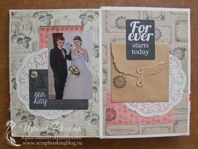 Свадебный фотоальбом: фото с табличками и карман для диска
