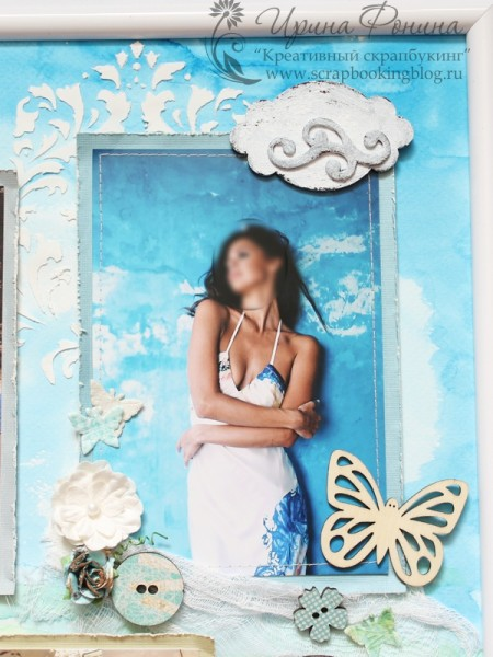 Коллаж из фотографий в раме - женщина