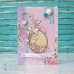 Пасхальная открытка с яйцом и кроликом