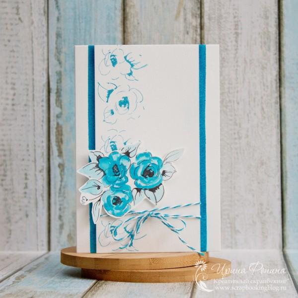 Открытка с цветочными штампами Altenew