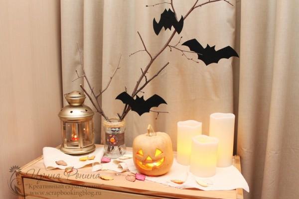 Декор с тыквой на хеллоуин