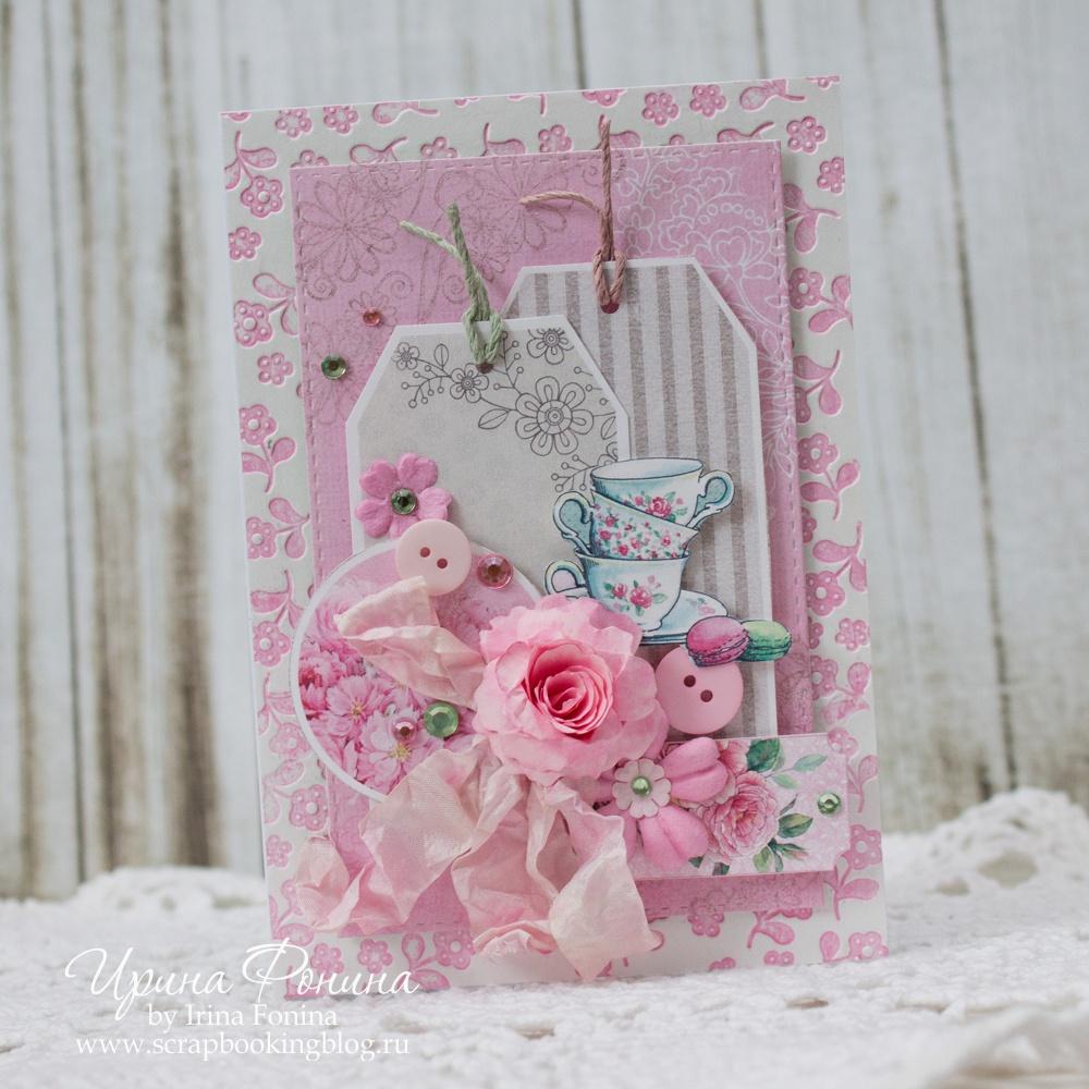 Скрап открытки розовые, открытку