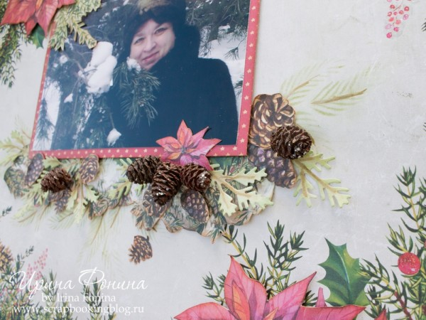 Зимняя скрап-страничка - шишечки и веточки