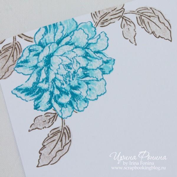 Открытка с синим цветком - CAS марафон 2017 - 2