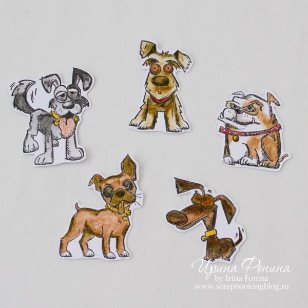 Crazy Dogs - раскрашивание штампов