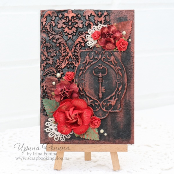 Открытка с ключом и красными розами - 1