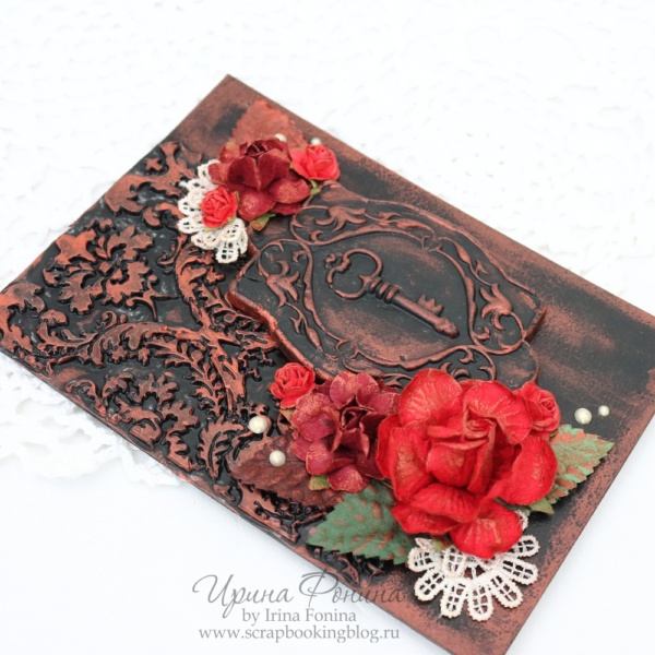 Открытка с ключом и красными розами - 2